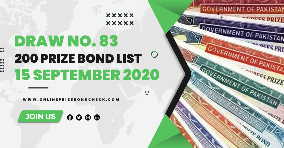 200 Prize Bond List - 15 September 2020