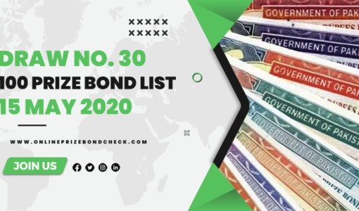 100 Prize Bond List - 15 May 2020