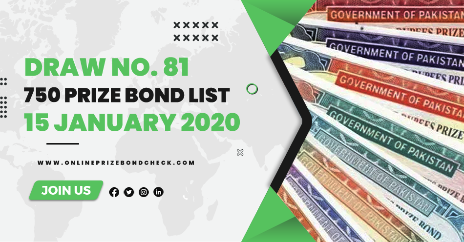 750 Prize Bond List - 15 January 2020