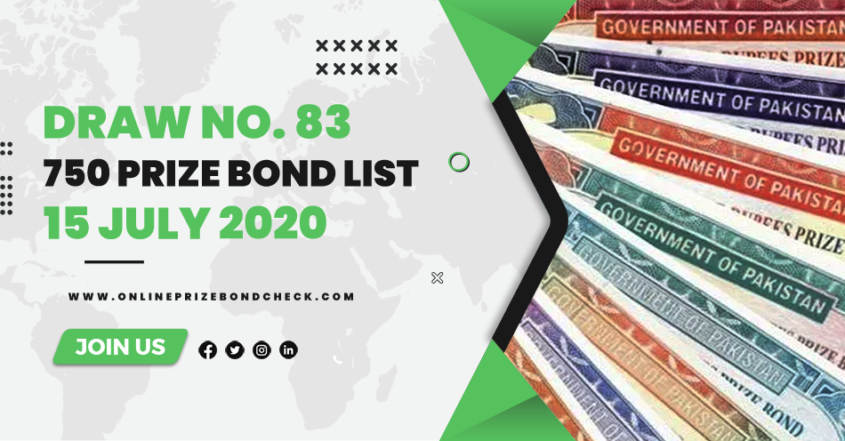750 Prize Bond List - 15 July 2020