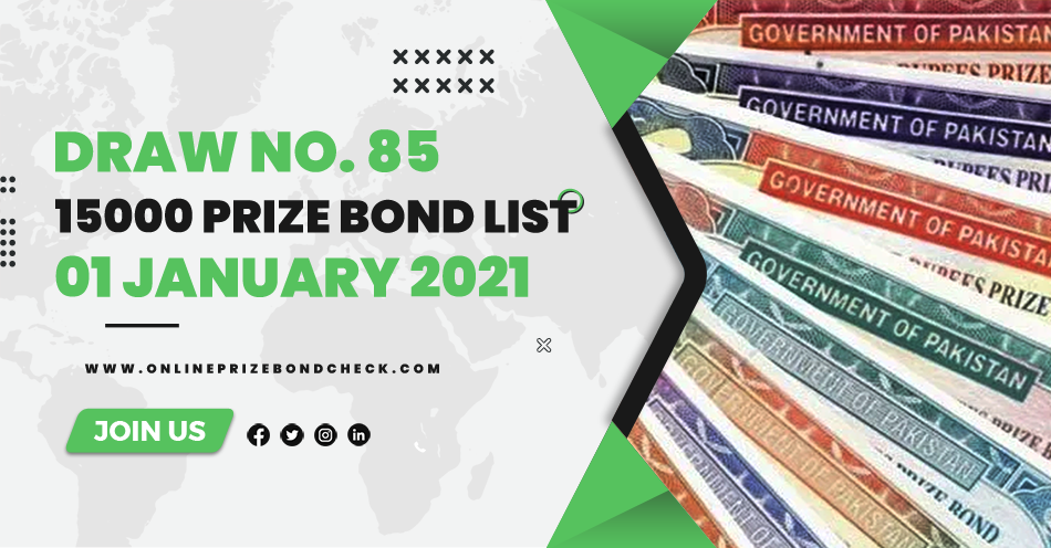 15000 Prize Bond List - 01 January 2021