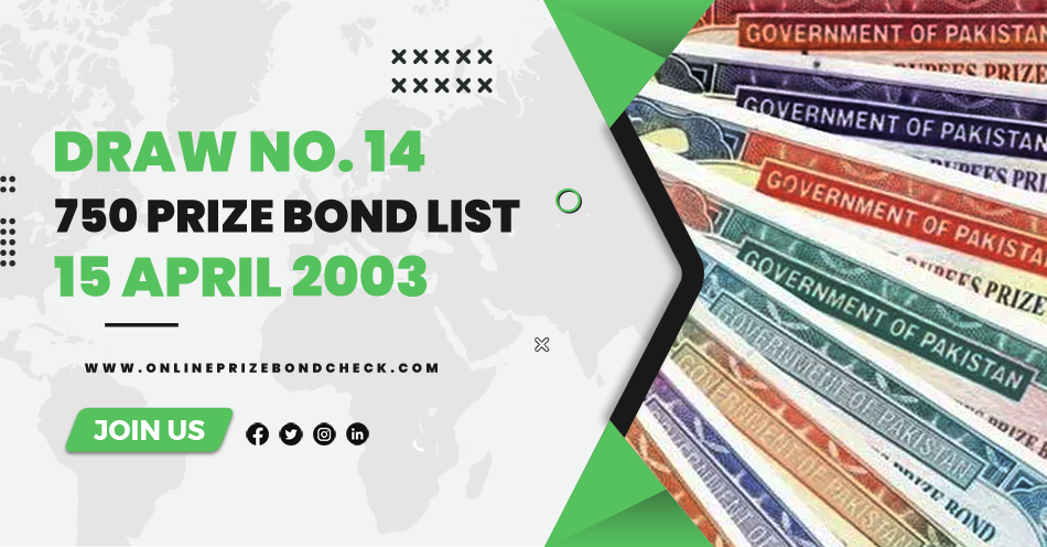 750 Prize Bond List - 15 April 2003