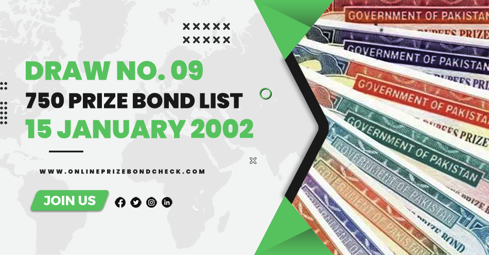 750 Prize Bond List - 15 January 2002