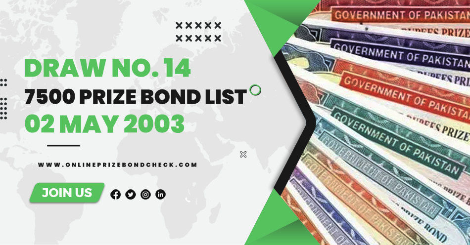 7500 Prize Bond List - 02 May 2003