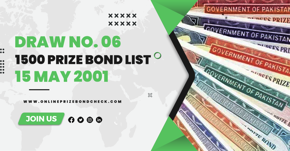 1500 Prize Bond List - 15 May 2001