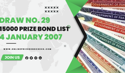 15000 Prize Bond List - 4 January 2007