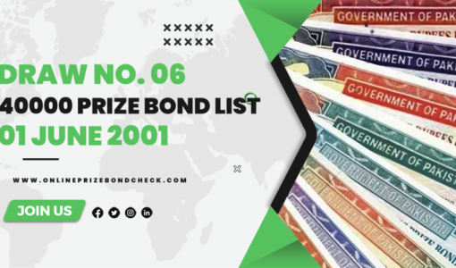 40000 Premium Prize Bond List- 01 June 2001