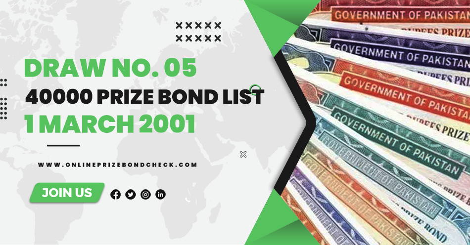 40000 Prize Bond List - 1 March 2001