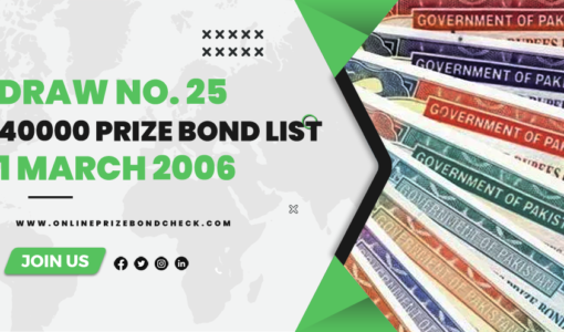 40000 Prize Bond List - 1 March 2006