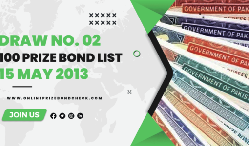 100 Prize Bond List - 15 May 2013
