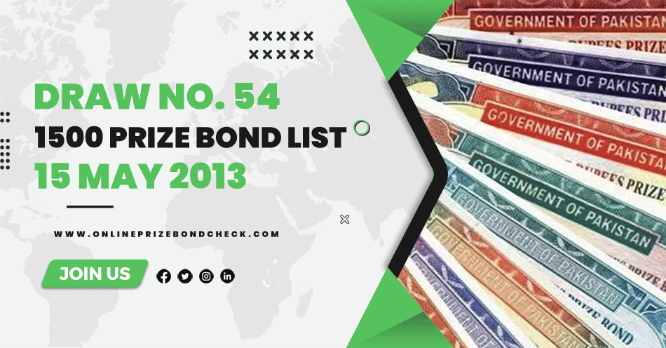 1500 Prize Bond List - 15 May 2013