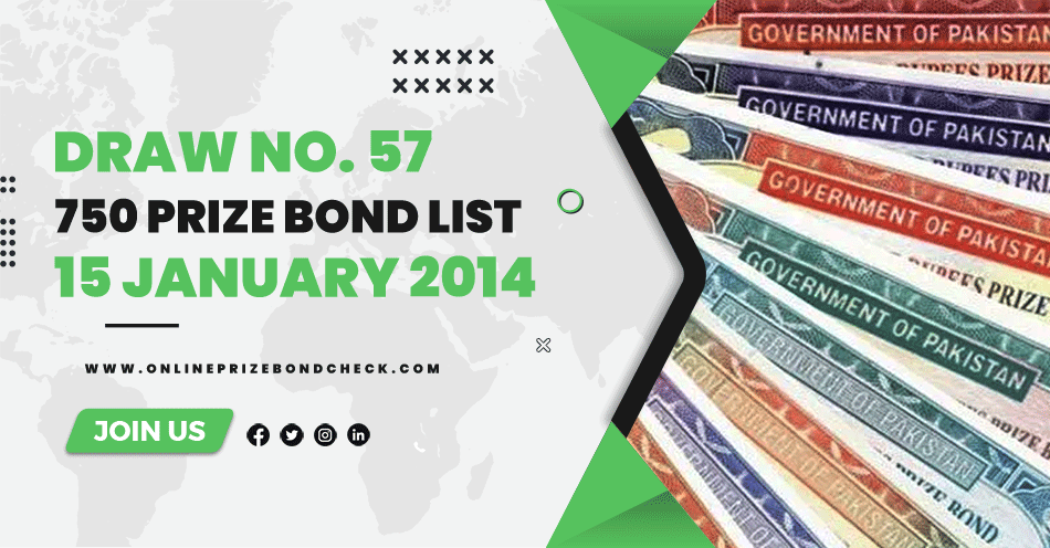 750 Prize Bond List - 15 January 2014